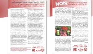 Non à l'interdiction du Parti Communiste en Pologne ! Moyen Orient : L'UE et Macron, complices de l'impérialisme US ! Déclarations communes ANC, POLEX, PRCF, PCRF, FVR-PCF, RC