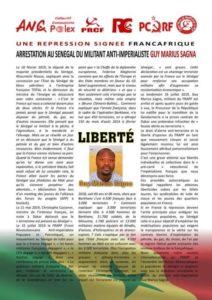 Une repression signée françafrique : arrestation au Sénégal du militant anti impérialiste Guy Marius Sagna.
