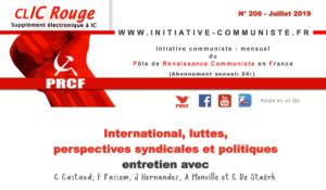 CLIC Rouge 206 – votre supplément électronique gratuit à Initiative Communiste [juillet 2019] !