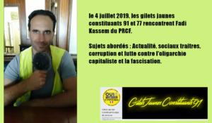 En vidéo l'échange entre le PRCF et les gilets jaunes constituants 91 / 77/