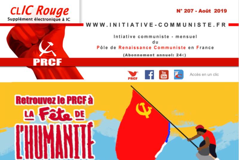 CLIC Rouge 207 – votre supplément électronique gratuit à Initiative Communiste [août 2019]