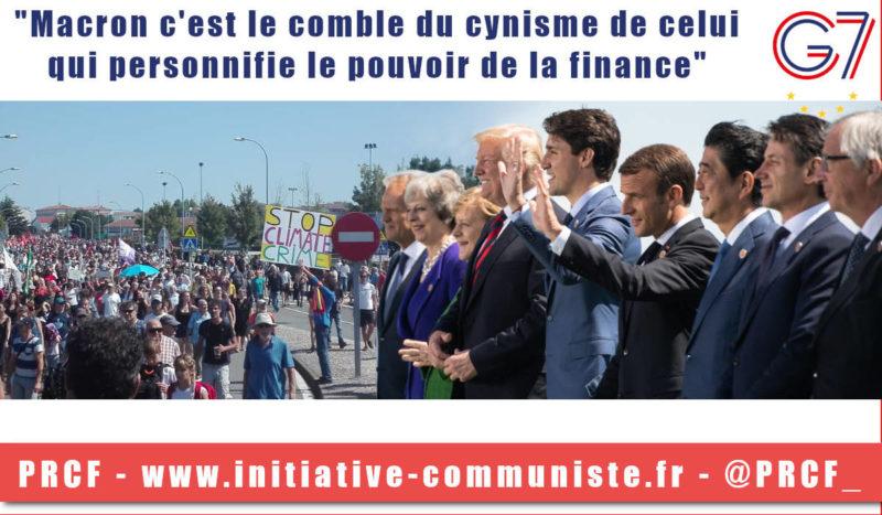 """#G7 :  """"le comble du cynisme de celui qui personnifie le pouvoir de la finance"""" – G. Gastaud répond à la propagande Macron !"""
