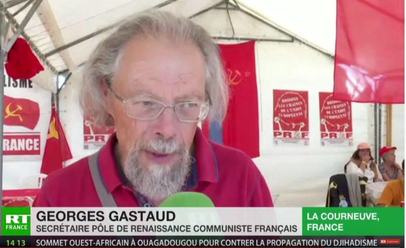 #Acte44 Georges Gastaud interviewé par RT au stand du PRCF, à la fête de l'Humanité, explique le soutien des communistes aux #GiletsJaunes