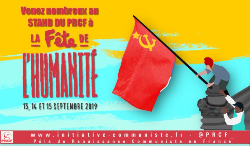 Fête de l'Huma 2019, demandez le programme du stand du PRCF.
