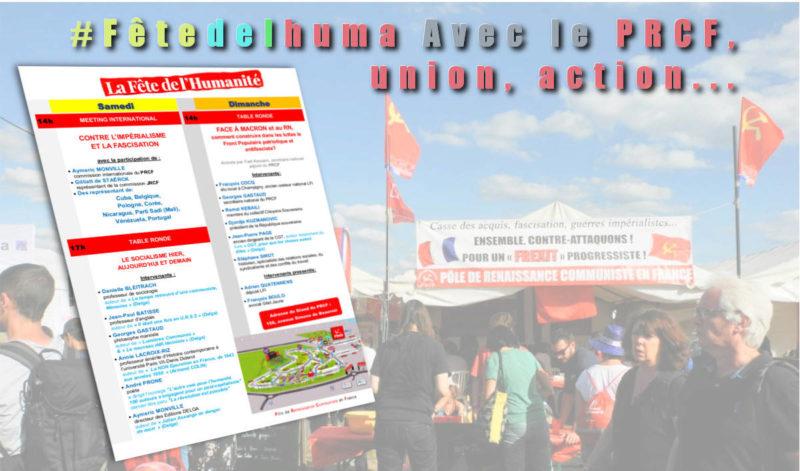 #Fêtedelhuma et rentrée sociale : avec le PRCF, union, action…