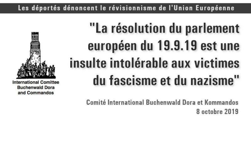 Le comité international Buchenwald Dora condamne la résolution révisionniste du parlement européen.