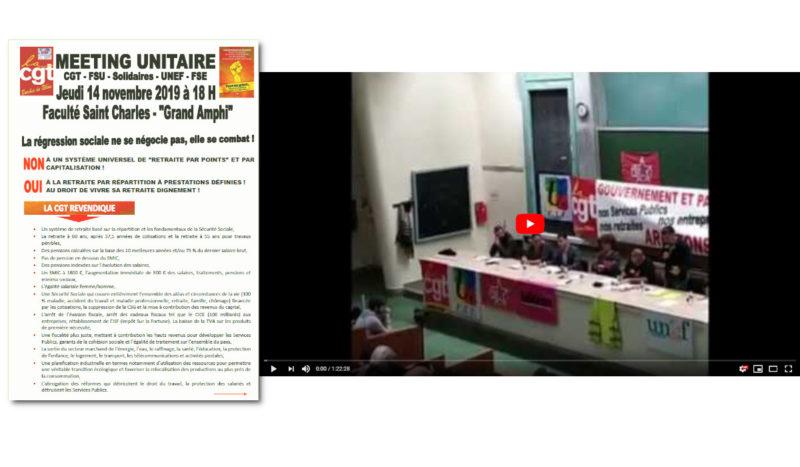 Retraites : Marseille, intersyndicale et gilets jaunes appellent ensemble dans un meeting à la grève générale le 5 décembre