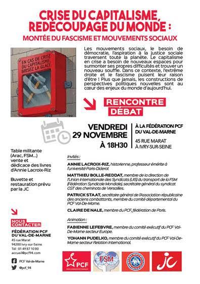 Annie Lacroix-Riz invitée du débat Crise du capitalisme, redécoupage du monde : montée du fascisme et mouvement sociaux le 29/11/209 à Ivry