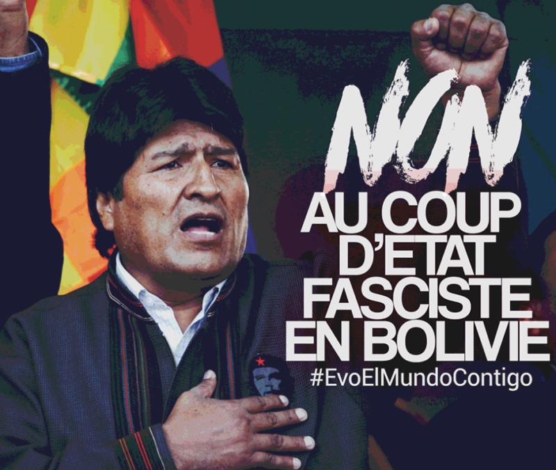Solidaires d'Evo Morales et du peuple bolivien contre le coup d'état fasciste perpétré par l'oligarchie  et par l'impérialisme étatsunien