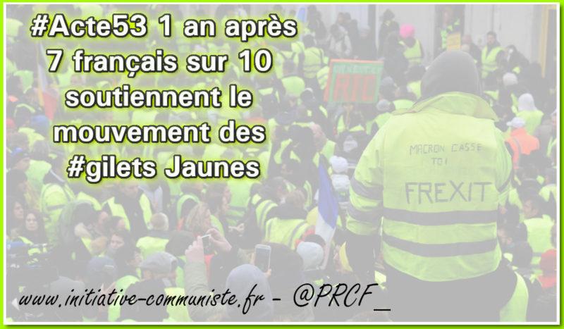 Mobilisation et soutien populaire massifs pour #Acte53 des #GiletsJaunes #sondage