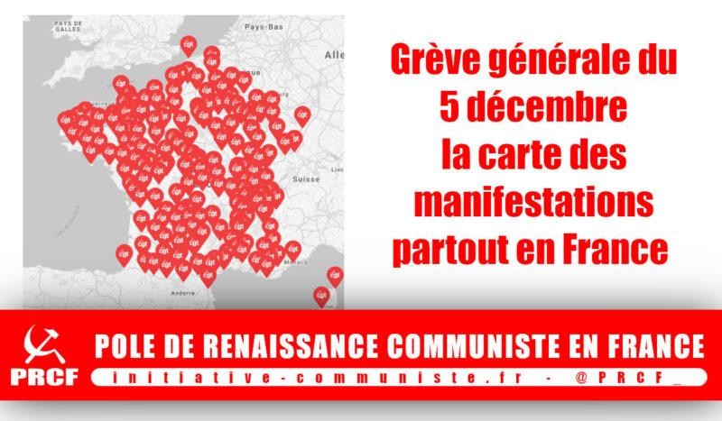 #Grève5décembre Avec la carte des manifestations, trouvez la manif près de chez vous !