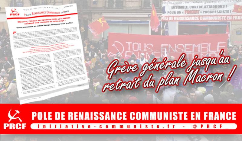 #tract Face à Macron-MEDEF, brutal exécutant du MEDEF et de l'Union européenne (UE) : les propositions franchement communistes du PRCF pour stopper Macron et contre-attaquer !