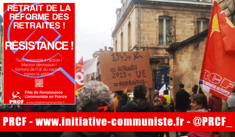 Pas de vacances pour la résistance : retrait de la contre réforme des retraites ! l'appel des communistes du PRCF .