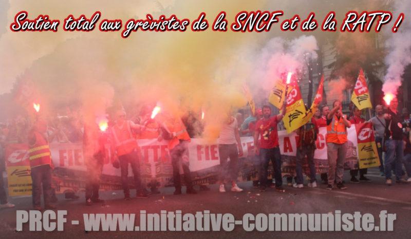 Solidarité totale avec les grévistes de la SNCF et de la RATP menacés par le pouvoir macroniste – déclaration du PRCF