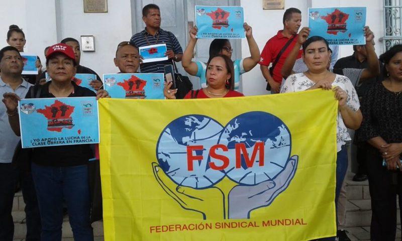 Avec la FSM les travailleurs du monde entier soutiennent la grève pour les retraites en France .