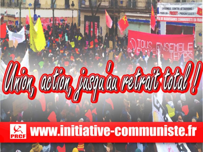 Après le discours du 1er ministre : Union, action, jusqu'au retrait total ! Déclaration du PRCF