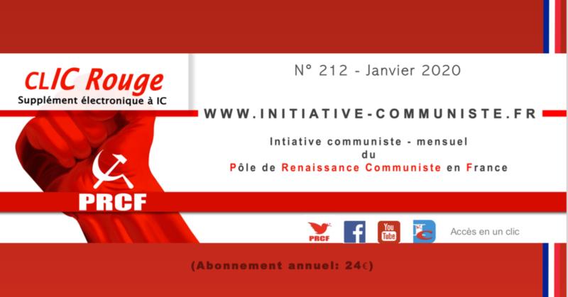 CLIC Rouge 212 – votre supplément électronique gratuit à Initiative Communiste [janvier 2020]