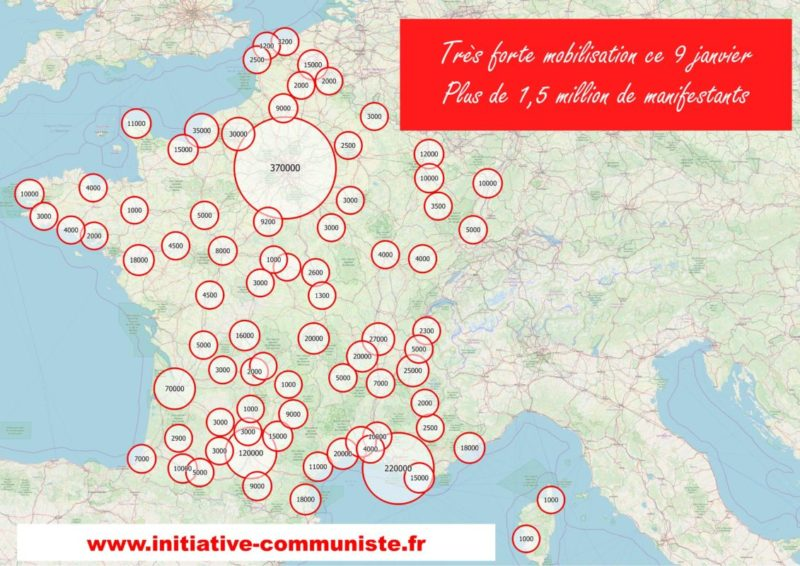 Hausse de la mobilisation pour le retrait de la #réformedesretraites. Les chiffres des #manifestations de la #grève9janvier : 1,7 million !