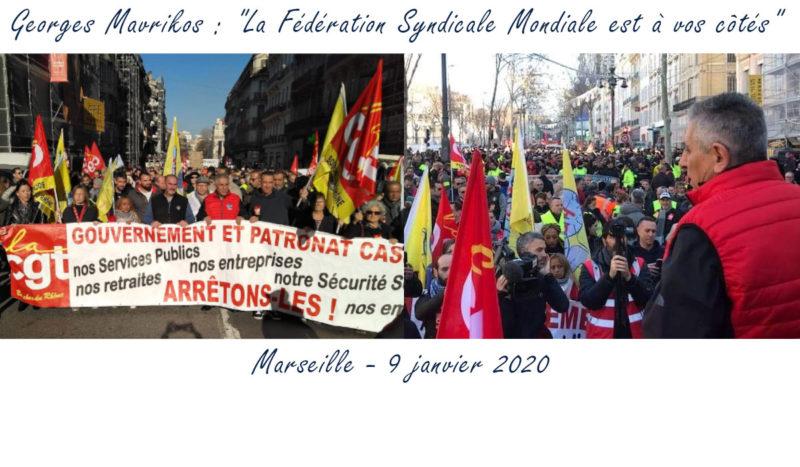 A Marseille c'est Georges Mavrikos le secrétaire général de la FSM qui apporte le soutien des travailleurs du monde entier à la grève en France.