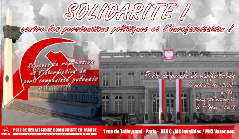 Contre l'interdiction du parti communiste polonais et les persécutions politiques lancées par le PiS, rassemblement à Paris le 29 février –  Ambassade de Pologne