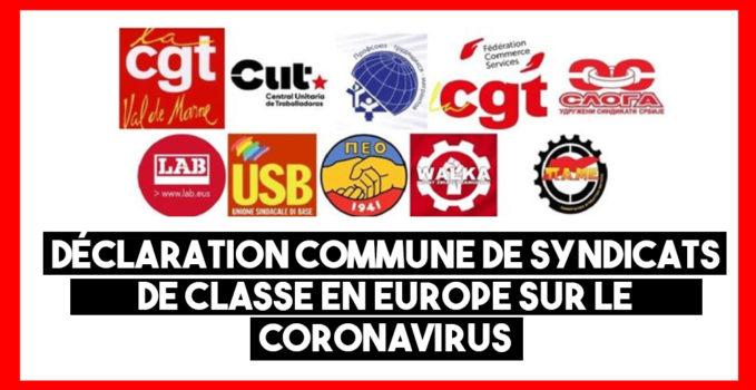 Front commun des syndicats de classe en Europe contre le #coronavirus et les dangers pour les droits des travailleurs.