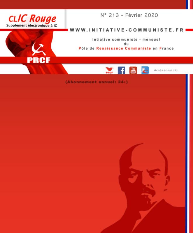 CLIC Rouge 213 – votre supplément électronique gratuit à Initiative Communiste [février 2020]