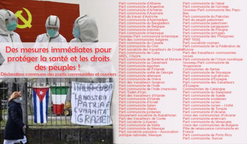 Déclaration commune des Partis Communistes et ouvriers :  des mesures immédiates pour protéger la santé et les droits des peuples !