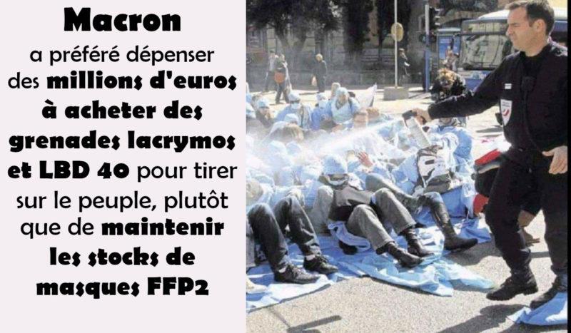 Les millions dépensés en LBD40 et grenades lacrymos ont fait défaut pour maintenir les stocks de masques ! #GiletsJaunes #Covid-19 #violencespolicières