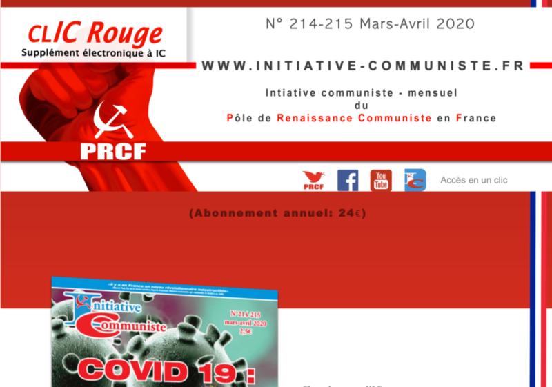 CLIC Rouge 214-215 – votre supplément électronique gratuit à Initiative Communiste [mars-avril 2020]