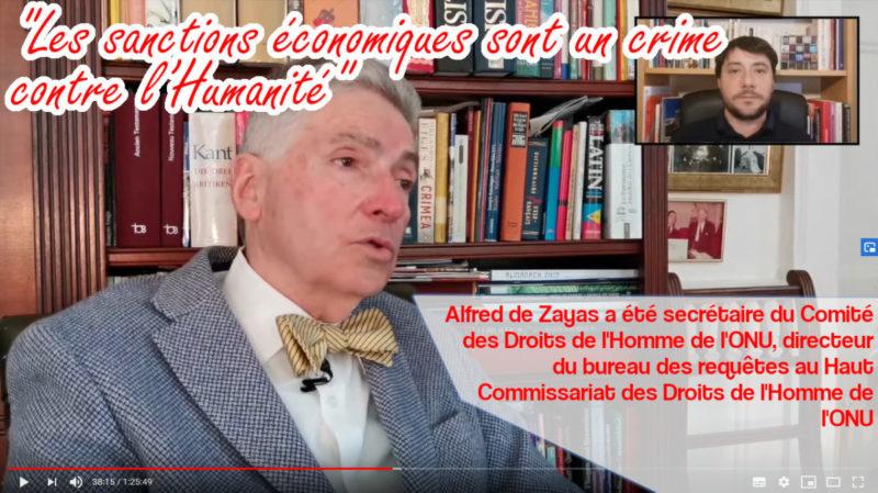 """Alfred de Zayas : """"Les sanctions économiques sont un crime contre l'Humanité"""" !"""