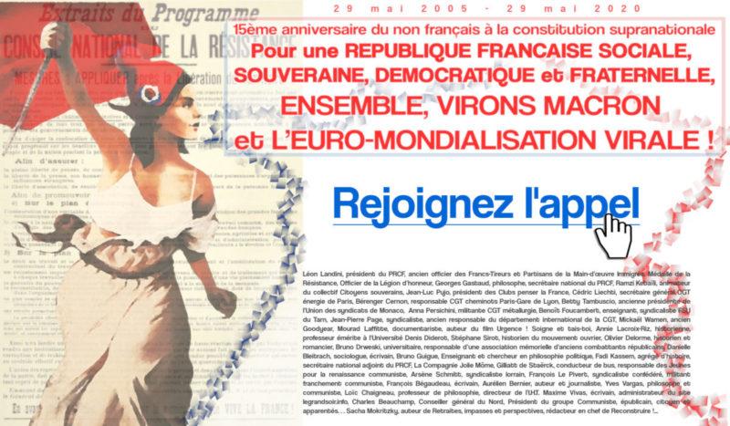 Pour une RÉPUBLIQUE FRANÇAISE SOCIALE, SOUVERAINE, DÉMOCRATIQUE et FRATERNELLE, ENSEMBLE, VIRONS MACRON et L'EURO-MONDIALISATION VIRALE !