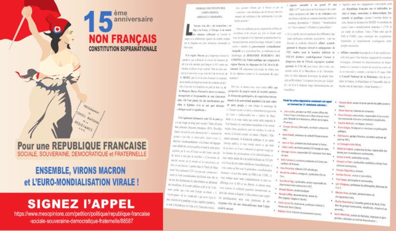 Télécharger et partager au format PDF l'appel du 29 mai pour une République Française sociale, souveraine, démocratique et fraternelle. Ensemble, virons Emmanuel Macron et l'euro-mondialisation virale !
