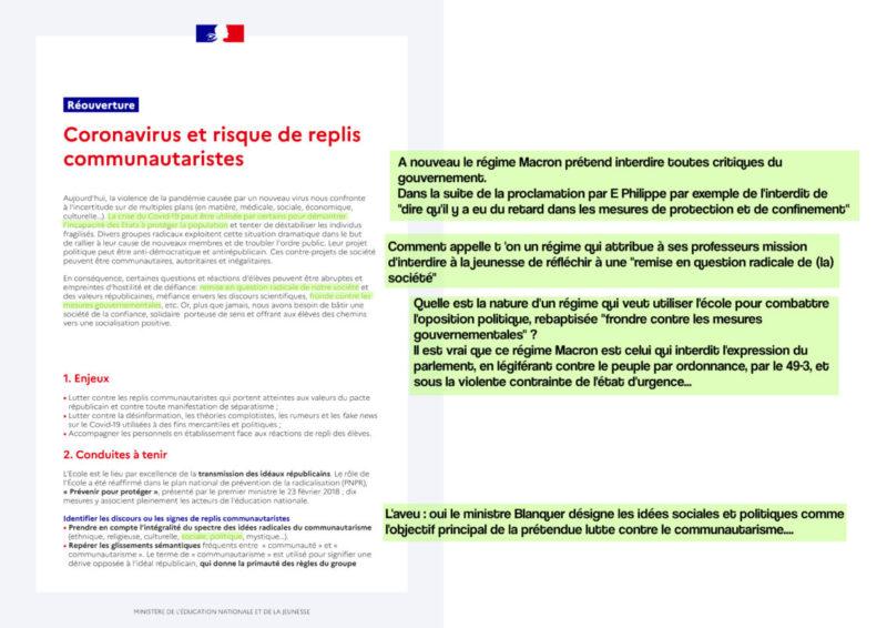 #COVID19 Réouverture des écoles : le régime Macron ordonne une inquiétante police de la pensée doublée d'un fichage dans les établissements scolaires !
