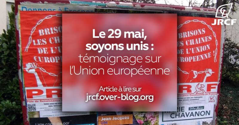 « Le 29 mai, soyons unis » : l'appel d'un jeune communiste des JRCF