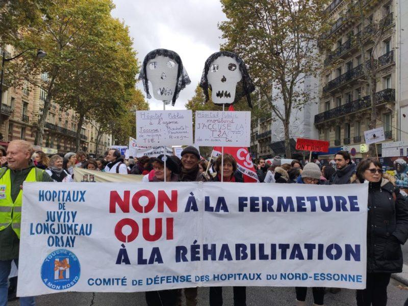 Combattre la fermeture et la privatisation des hôpitaux d'Orsay, Juvisy et Longumeau.