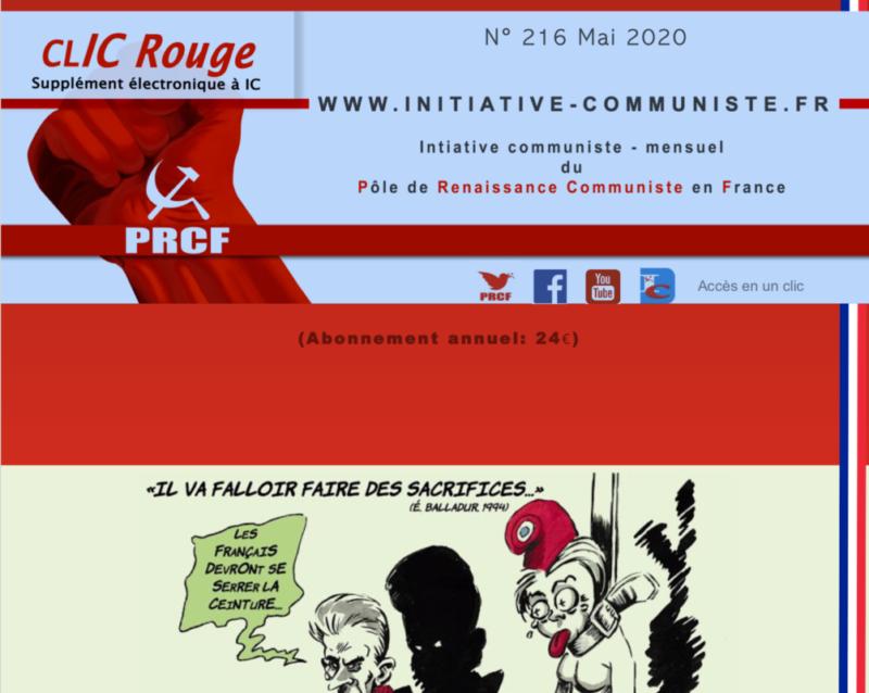 CLIC Rouge 216 – votre supplément électronique gratuit à Initiative Communiste [mai 2020]