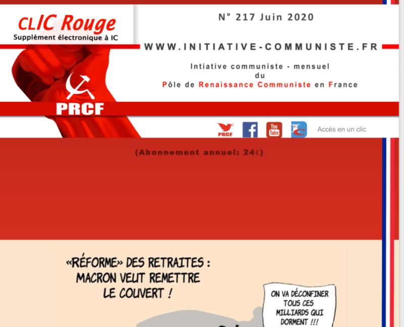 CLIC Rouge 217 – votre supplément électronique gratuit à Initiative Communiste [juin 2020]