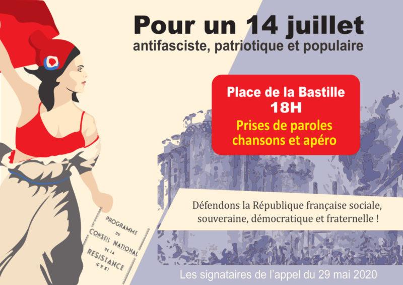 Pour un 14 juillet anti-européiste, antifasciste, patriotique et populaire : défendons la République française sociale, souveraine, démocratique et fraternelle ! Paris – Place de la Bastille