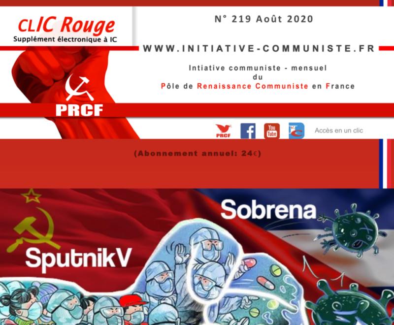 CLIC Rouge 219 – votre supplément électronique gratuit à Initiative Communiste [août 2020]