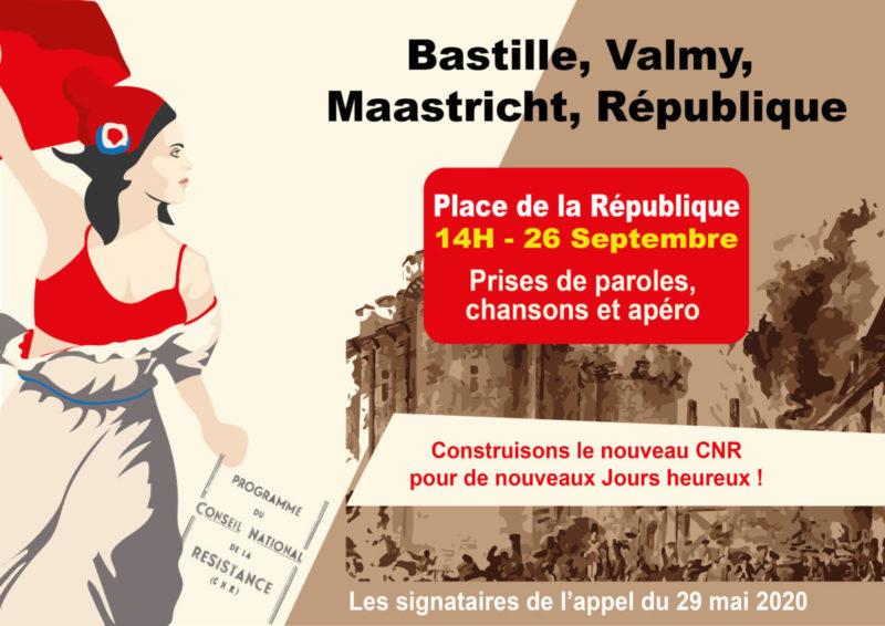 26 sept à 14h place de la République à Paris, célébrons la victoire de Valmy. Pour la République une et indivisible, sociale et laïque, souveraine et démocratique, fraternelle et pacifique !