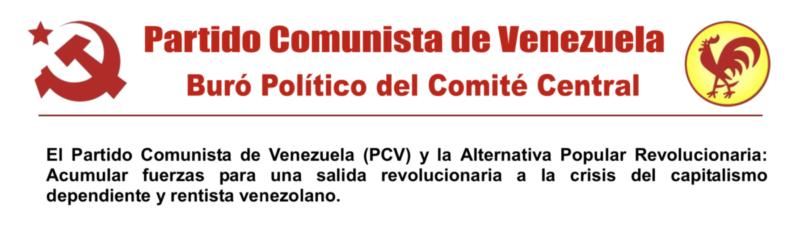 VENEZUELA : PCV & Front patriotique et alternative révolutionnaire – Du nouveau …