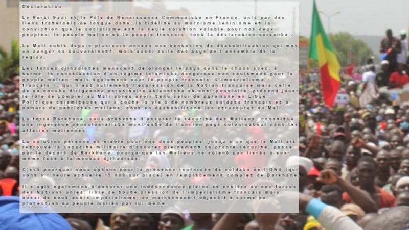 Mali et France : SADI et PRCF solidaires !