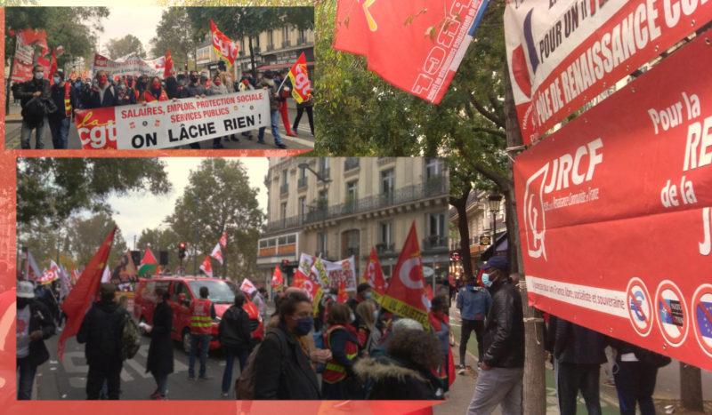 Les communistes présents avec le PRCF et les JRCF à la marche pour l'emploi et la dignité à Paris.