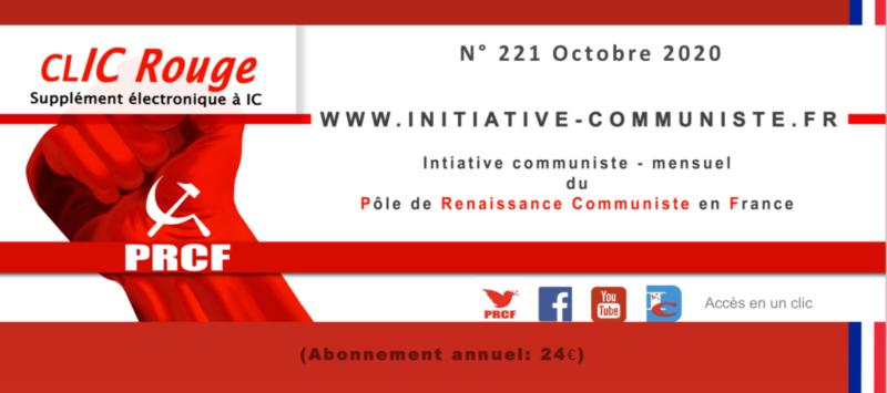 CLIC Rouge 221 – votre supplément électronique gratuit à Initiative Communiste [octobre 2020] …
