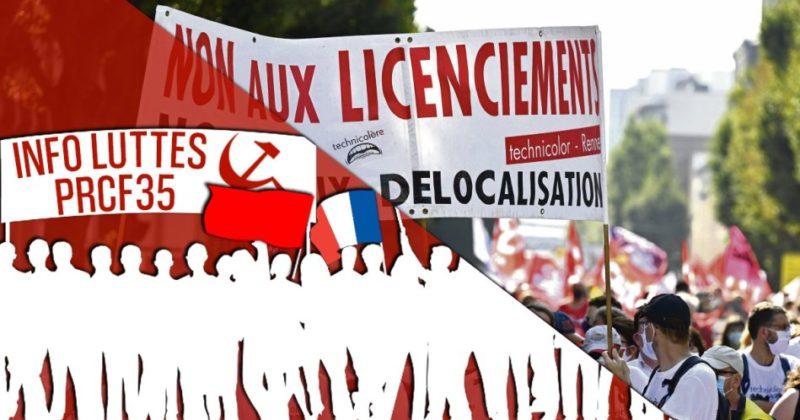 À Rennes, contre la casse sociale et industrielle, les Technicolor peuvent compter sur le soutien du PRCF 35.
