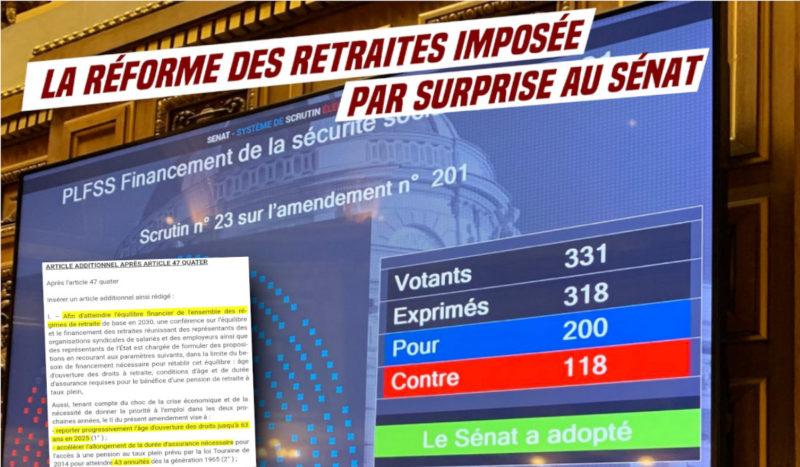Forfaiture antipopulaire : profitant de l'État d'urgence sanitaire le Sénat LR vote le recul de la retraite à 67 ans. Résistance !