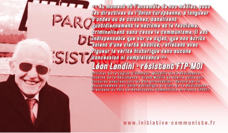 Lettre ouverte de Léon Landini aux dirigeants des associations se réclamant de la mémoire de la résistance et de la déportation.