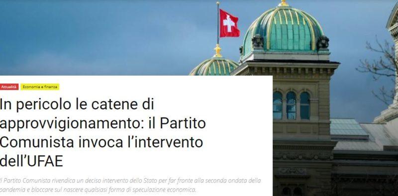 Suisse : les chaînes d'approvisionnement en danger, le Parti Communiste demande l'intervention de l'OFAE.