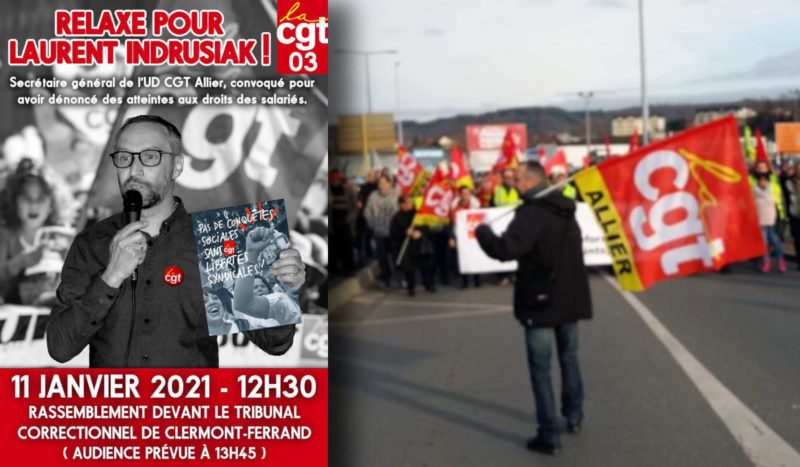 Relaxe pour Laurent secrétaire de l'UD CGT 03, stop à la répression anti syndicale !