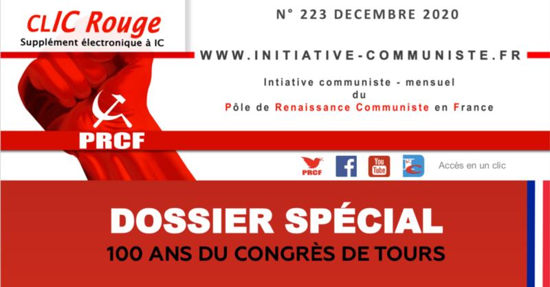 CLIC Rouge 223 – votre supplément électronique gratuit à Initiative Communiste [décembre 2020] …